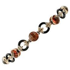 Diamonds, Onyx, Hard Stones, 9k rose gold and Silver Retro Bracelet