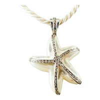 Mother-of-Pearl, Diamonds, 14k White gold, Star-shaped Retro Pendant