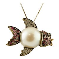 South sea pearl, Diamonds, Rubies, 9k rose gold and silver Vintage Fish Pendant