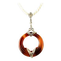 Carnelian, Diamonds and 14k White Gold Retro Pendant