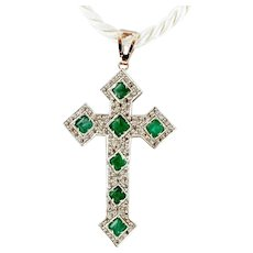 Diamonds, Emeralds, Gold and Silver Cross Pendant