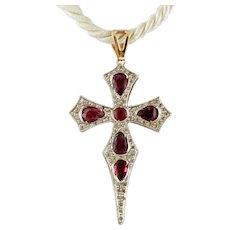 Diamonds, Rubies, Rose Gold & Silver Cross Pendant