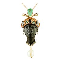 Ebony, Diamonds, Emeralds, Sapphires, Topaz, Pearl, Rose Gold and Silver Moretto Pendant