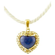 Heart Pendant in 18k Yellow gold and Lapis Lazuli