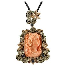 Handcrafted Pendant Engraved Orange Coral, Diamonds, Rubies, Blue Sapphires, Gold and Silver