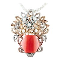 Coral, Diamonds, Pearls, White and Yellow Flower Basket Pendant