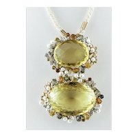 Citrine, Diamonds, Sapphires, Pearls, White and Rose Gold Retro Pendant