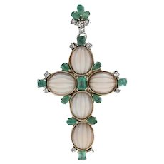 Diamonds, Emeralds, Oval Shape Engraved Pink Corals, Gold,Cross Pendant Necklace