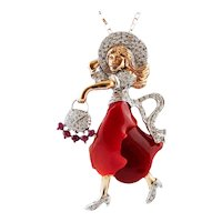 Diamonds, Rubies, Coral, White and Rose Gold, Lady pendant