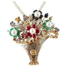 Diamonds, Rubies, Emeralds, Sapphires, Pearls, Flower Basket Brooch/Pendant