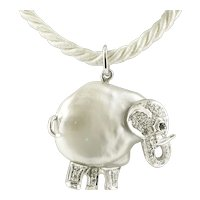 Baroque Pearl, Diamonds, White Gold, Elephant Pendant