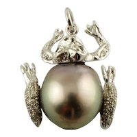 Diamonds, Pearl, 14k White Gold Pendant