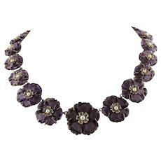 Purple Flower, Tsavorite, Pearls, Rose Gold and Silver Vintage Flowery Necklace