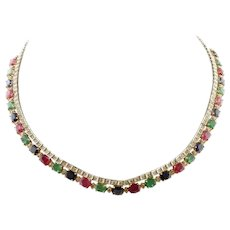 Handcrafted Necklace 23.45ct Rubies Emeralds Blue Sapphires, Diamonds, 14K White Rose Gold