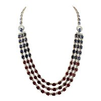 Diamonds, Rubies, Blue Sapphires, 14k White Gold Necklace