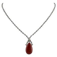 Diamonds,Red Coral Drop, 14K White Gold Drop Pendant Necklace