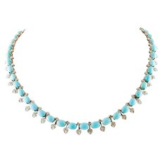 Turquoises, Diamonds, White and Rose Gold Necklace