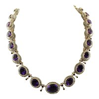Amethyst, 9k Rose Gold and Silver, Vintage Necklace