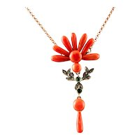 Coral ,Diamonds, Tsavorite, Rose Gold Pendant Necklace