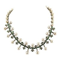 Diamonds, Emeralds, Pearls, 14k White Gold Vintage Necklace
