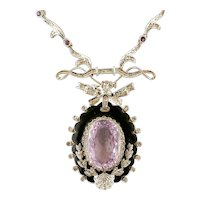 Amethyst, Diamonds, 14k White gold and Enamel gold Vintage Pendant Necklace