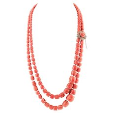 Double-strands Coral necklace