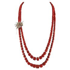 Red Corals,Diamonds,Rubies,Emeralds,Blue Sapphires Rose Gold and Silver Necklace