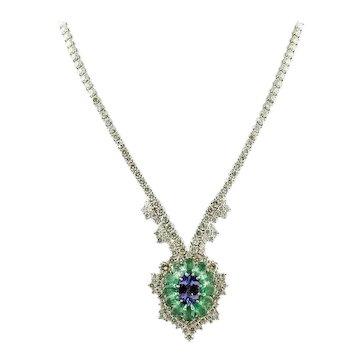 Handcrafted Necklace Diamonds, Emeralds, Tanzanite, 14 Karat White Gold