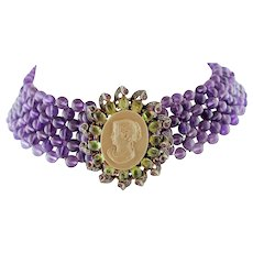 Amethyst beads, Cameo, Garnets, Rubies, Diamonds Rose Gold and Silver Choker Necklace