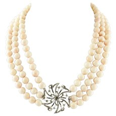 Beaded Coral Necklace with 18k White Gold and Diamonds Central Flower