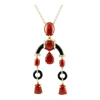 Diamonds, Coral, Onyx, 18k Yellow Gold Pendant Necklace