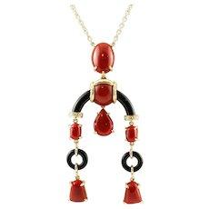 Diamonds, Coral, Onyx, 18k Yellow Gold Pendant Necklace