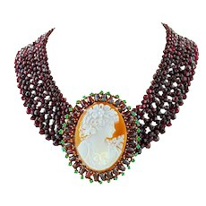 Garnets, Cameo, Emeralds, Choker Necklace