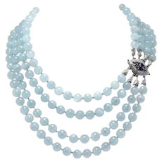 Handcrafted Necklace Aquamarine Beads Diamonds and Blue Sapphire Clasp White Gold