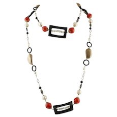 Handcrafted Necklace Onyx Pearls Little Pearls Red Bambù Rose Gold and Silver
