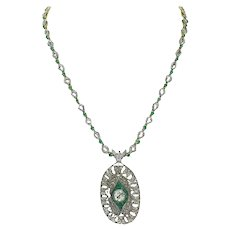 Handcrafted Brooch Necklace Luise Emerald Diamond Gold