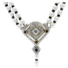 Handcrafted Multi-Strand Necklace Pearl Onyx Mother-of-Pearl Diamond Gold