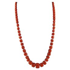 241.2 g Red Coral Long Retrò Necklace