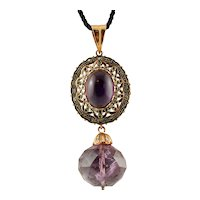 Diamonds, Amethysts, 14k Rose Gold and Silver Vintage Pendant