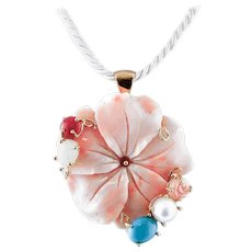 Engraved Pink Coral, Pearl, Colored Stones, 18 Karat Gold Pendant Necklace