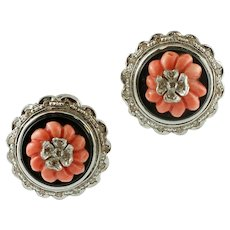 Diamonds, Coral, Onyx, 14k White Gold, Vintage Stud Earrings