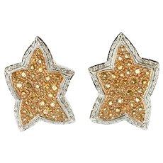 Diamonds, Yellow Topaz, White and Yellow Gold Star Earrings