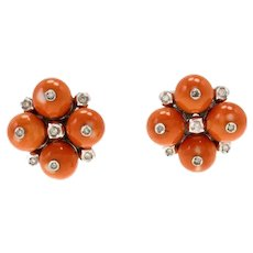 Handcrafted  Clip-on Retrò Earrings Red Coral Spheres, White Diamonds, 14K White Gold