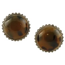 Bakelite, Diamonds, 9 Karat Rose Gold and Silver Earrings