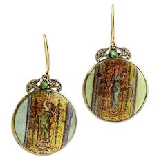 Painted Hard Stone, Emeralds, Diamonds, 9k Rose Gold and Silver Dangle Earrings