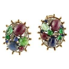 Diamonds, Blue Sapphire, Emeralds and Rubies, 14K Yellow Gold Stud Earrings