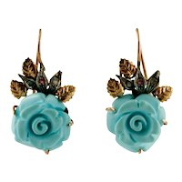 Turquoise paste roses, Diamonds, 9k Rose gold and Silver Vintage Dangle Earrings