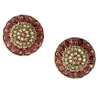 Diamonds, Rubies, 9k Yellow Gold and Silver Vintage Earrings