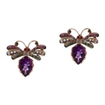 Handcrafted Earrings Diamonds Rubies Tsavorite Amethysts 9 Karat Rose Gold and Silver