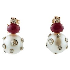 Pearls, Rubies, Diamonds, 14k Yellow Gold Dangle Earrings